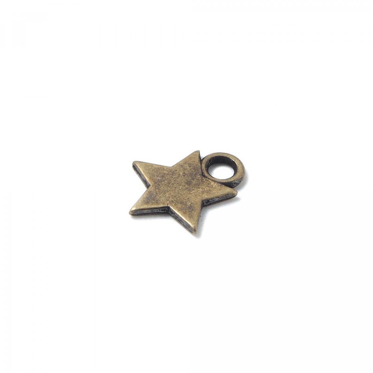 variedades anchas gran calidad oficial mejor calificado Abalorio colgante estrella, anilla 2mm, oro viejo.