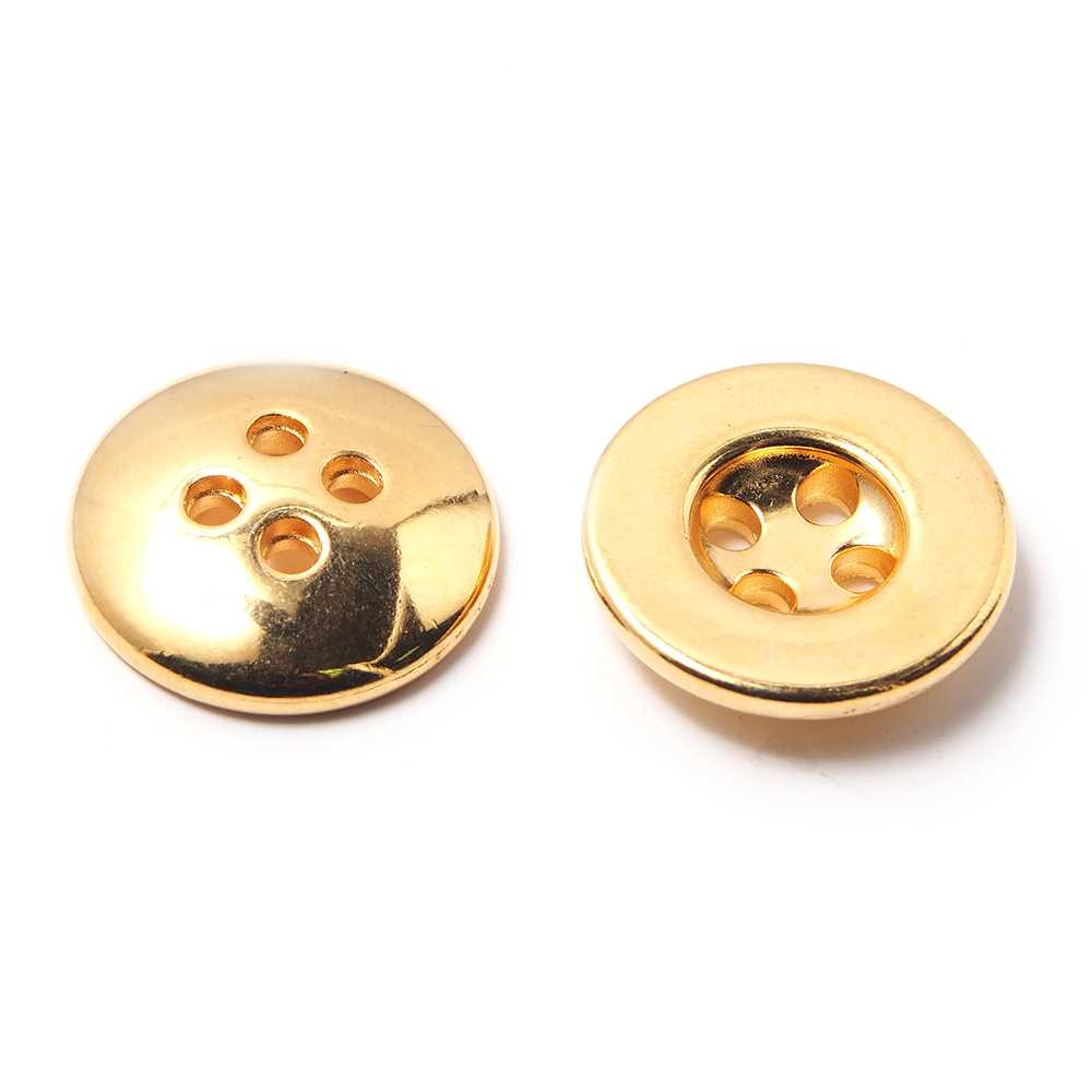 Pieza Botón con 4 agujeros de 2,5 mm. de diámetro cada uno. Bañado en oro de 24 quilates.