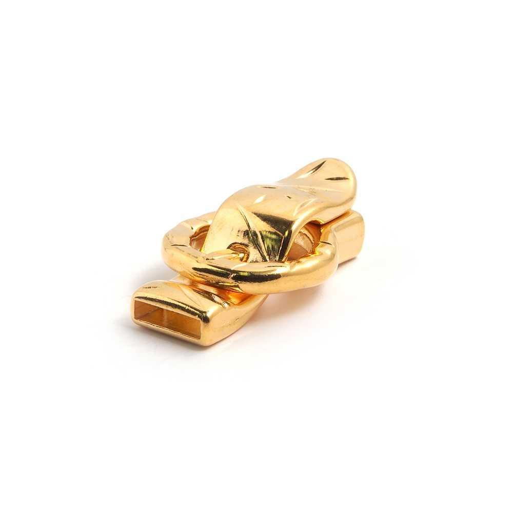 Cierre de imán bañado en oro, simulando el  abroche de una correa, para cuero de 12,5mm x 2.5mm.
