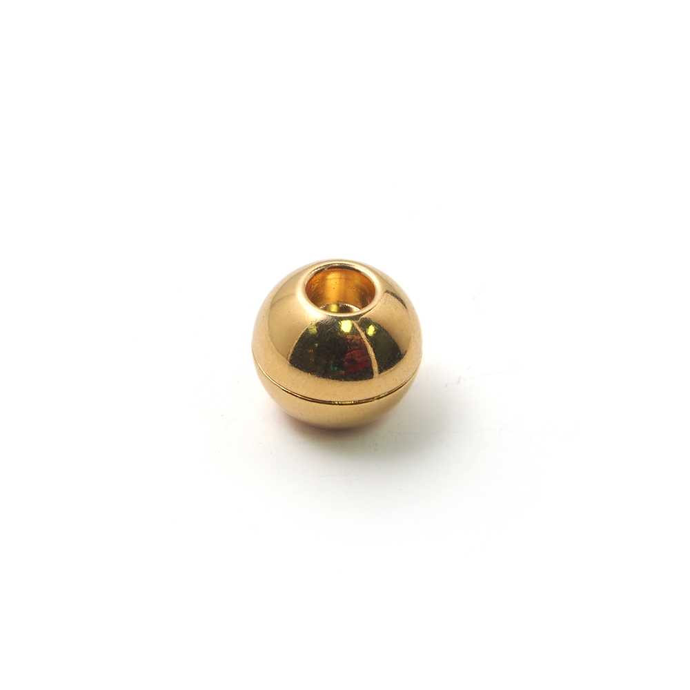 Cierre de imán bañado en oro, bola lisa con agujero de 5 mm.
