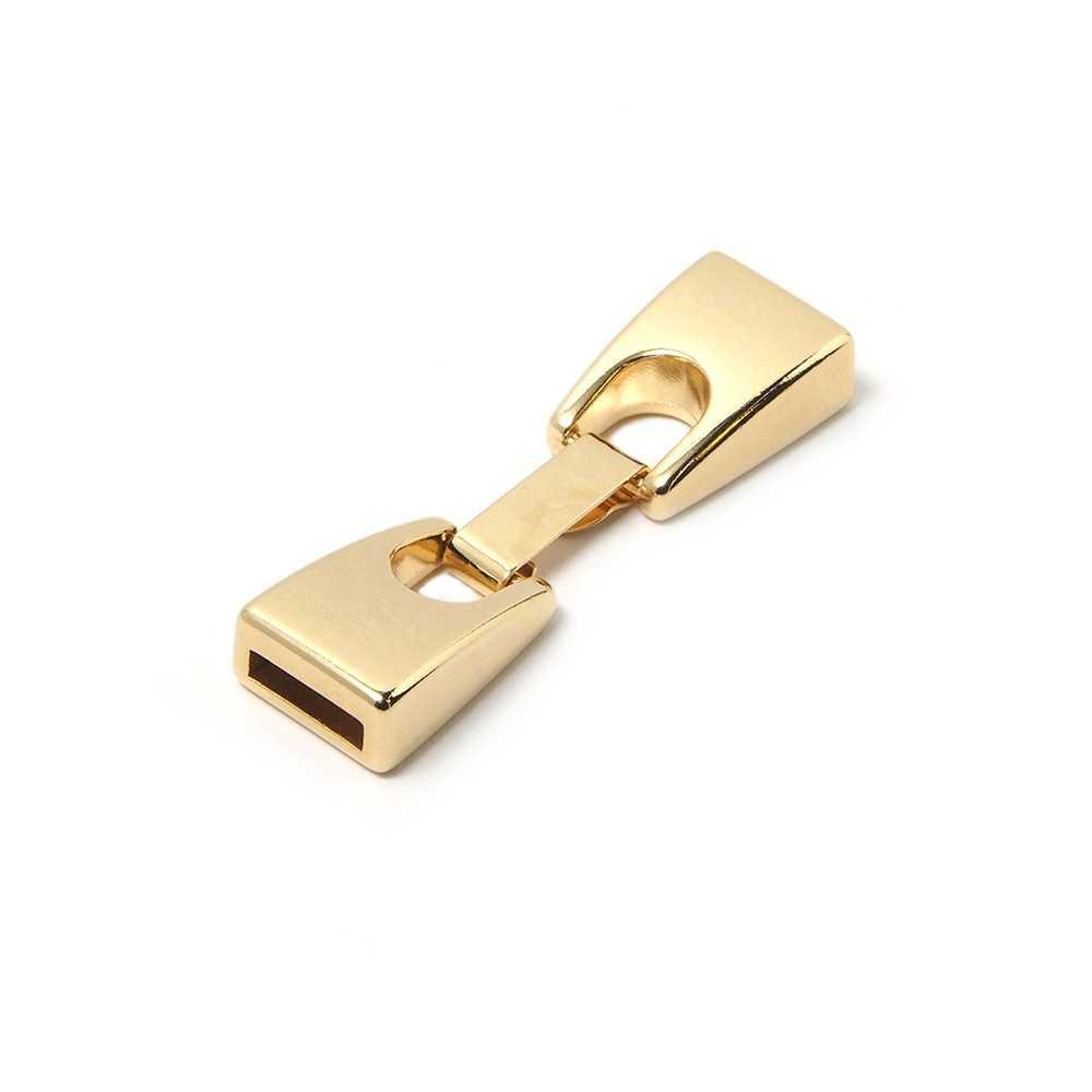 Cierre de fleje plano pequeño, bañado en Oro de 24 quilates, con huecos para cuero de 9,5mm x 2,5mm.