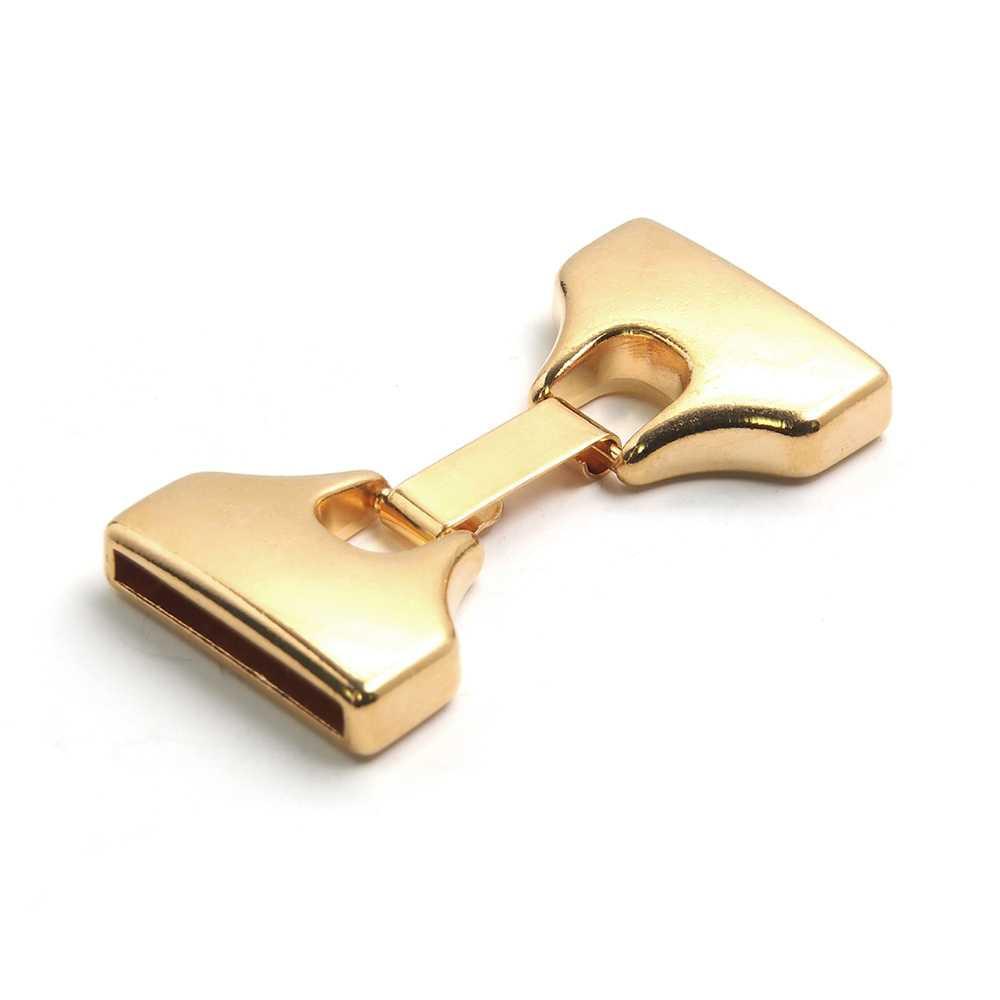 Cierre de plano extra grande, bañado en oro. 18mm x 2.5mm.