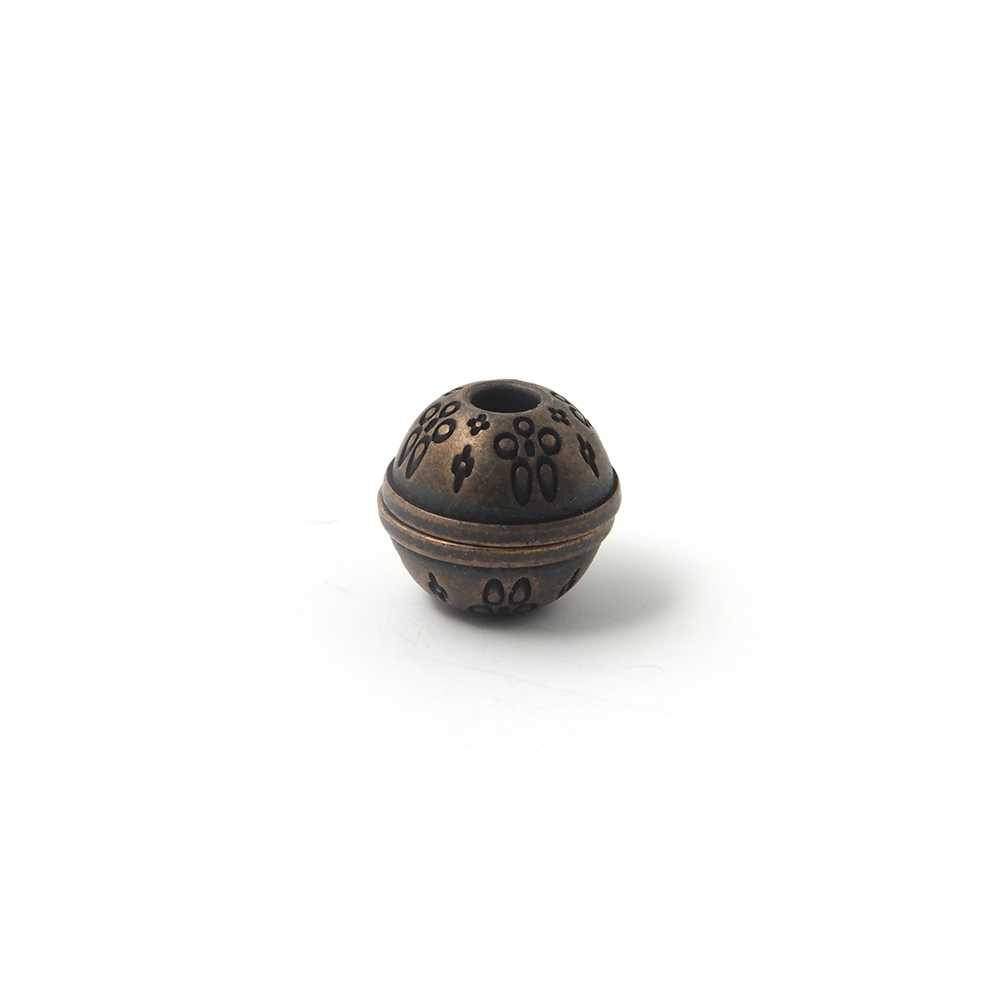 Cierre de imán bañado en oro envejecido, bola con filigrana, agujero de 4mm.