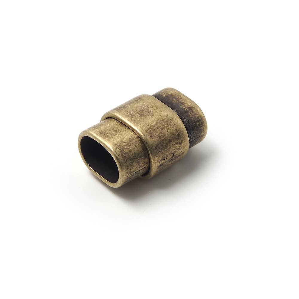 Cierre de imán rectangular ovalado, bañado en oro envejecido, para cuero regaliz.