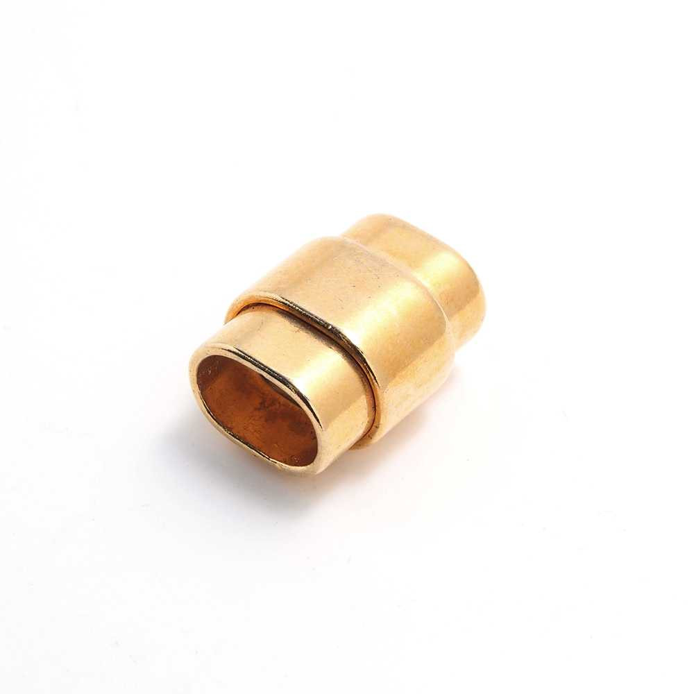 Cierre de imán rectangular ovalado, bañado en oro , para cuero regaliz.