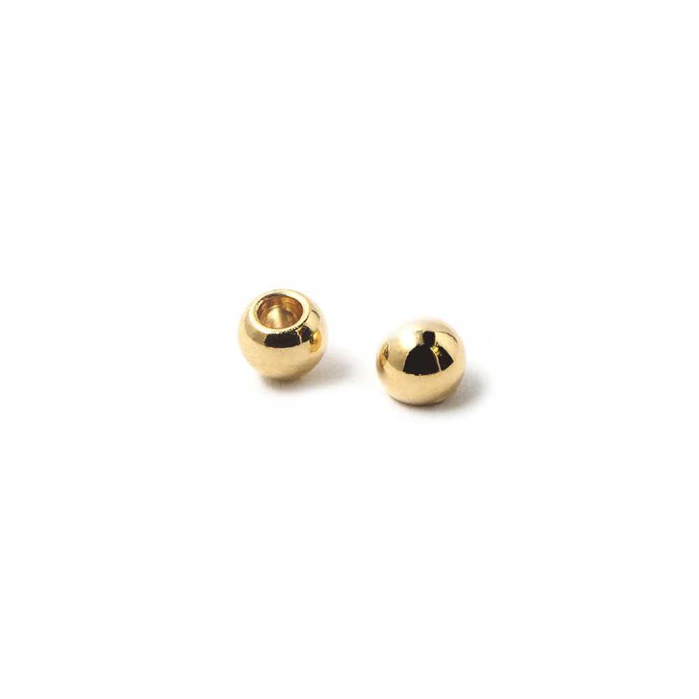 Bola pequeña, de 5mm de diámetro exterior, con un agujero no pasante de 2mm. Bañada en oro de 24 quilates.
