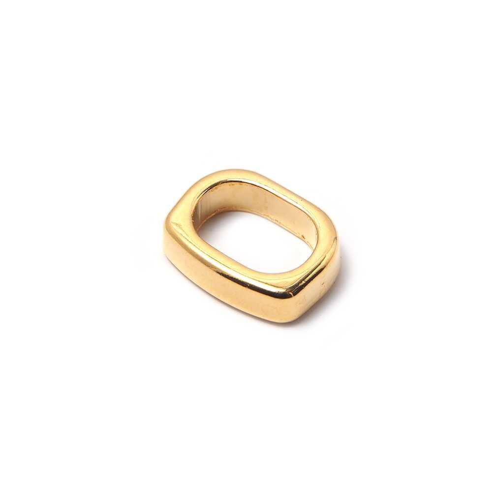 Entrepieza combada para cuero regaliz (10.5mm x 7mm). Bañada en oro de 24 quilates.