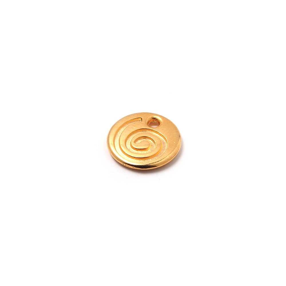 Medalla Espiral con hueco para anilla de 1.5mm. de diámetro. Bañada en oro de 24 quilates.