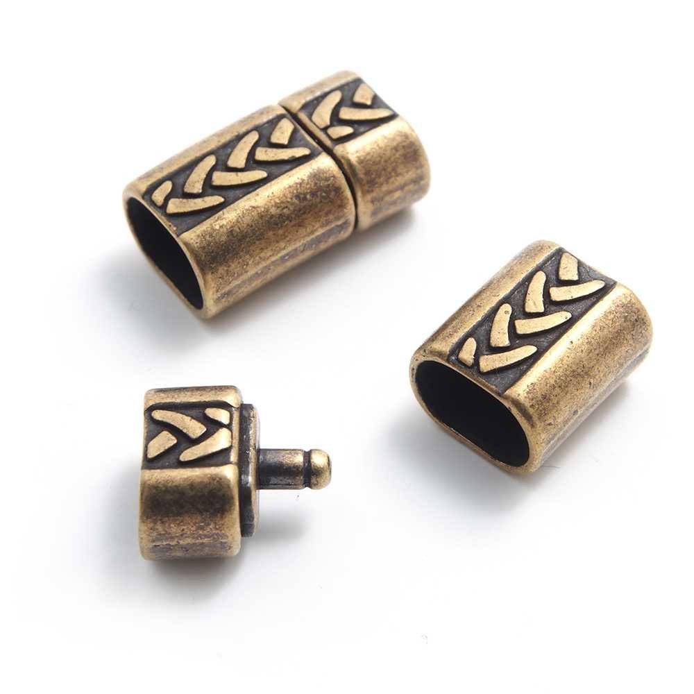Cierre de presión Trenza Simple para cuero regaliz (10.5mm x 7mm). Bañado en oro envejecido.