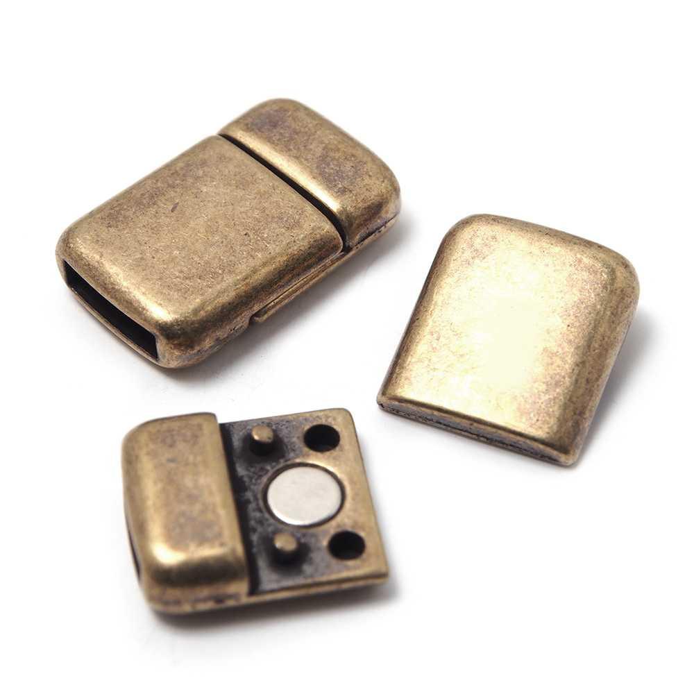 Cierre imán rectangular redondeado bañado en oro envejecido, 9.5mm x 2.5mm.
