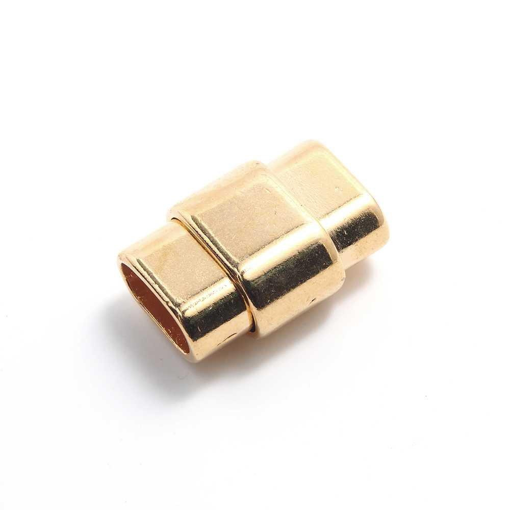 Cierre de imán bañado en oro, rectangular ovalado con huecos de 10mm x 4.5mm.