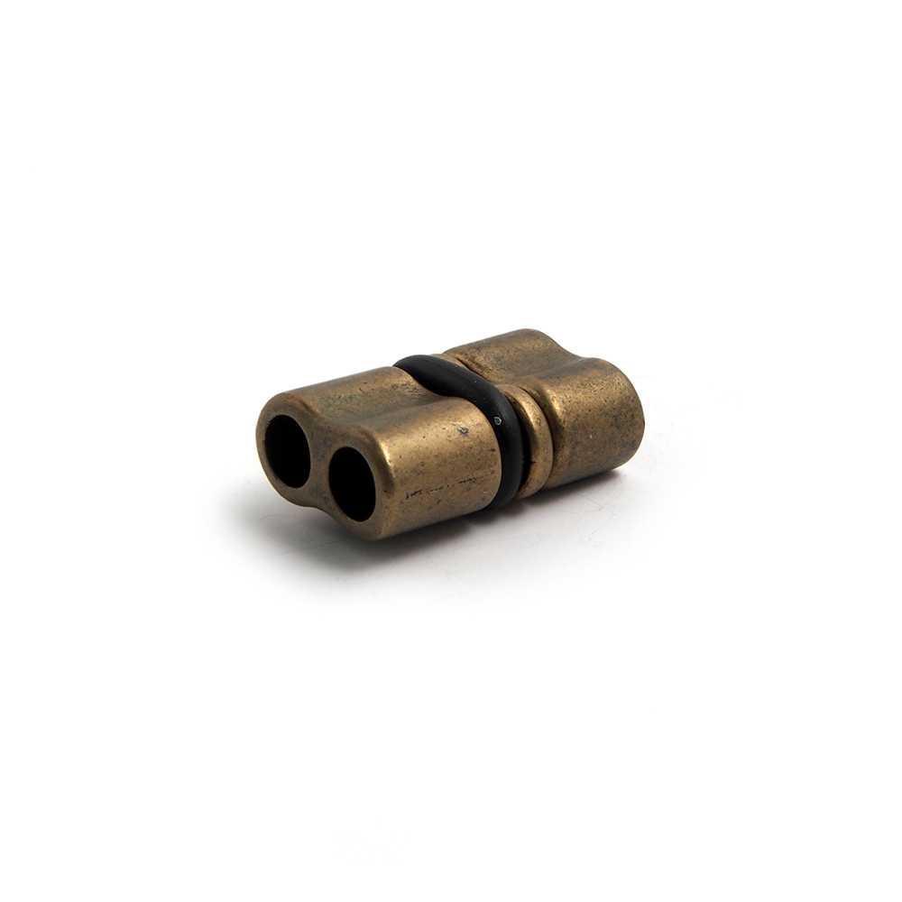 Cierre retén doble agujero, cuero redondo de 5mm, bañado en oro envejecido.