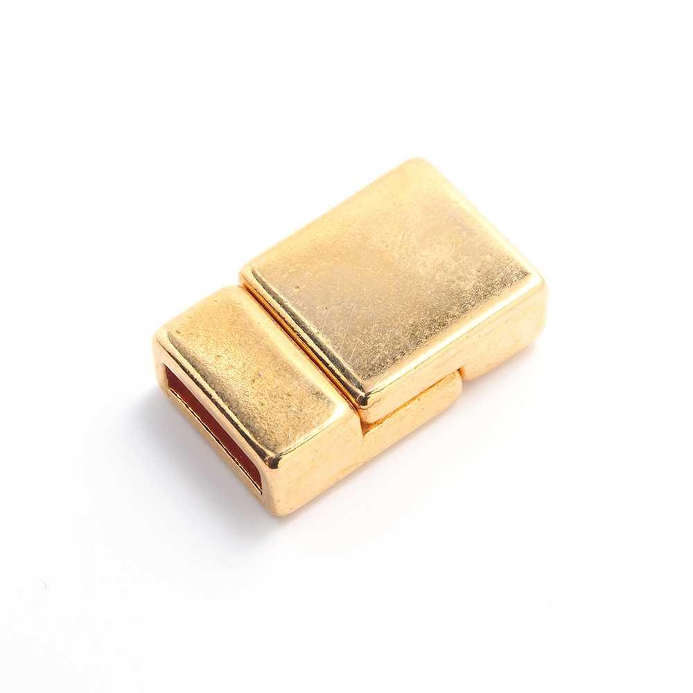 Cierre imán plano liso bañado en oro, 9.5mm x 2.5mm.