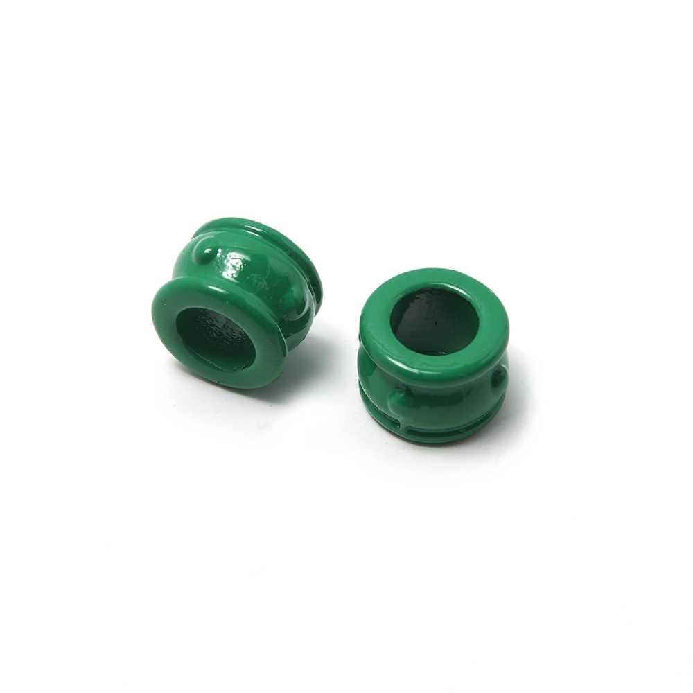 Entrepieza Cupa, para cuero de diámetro 5 mm. Pintada en color verde.