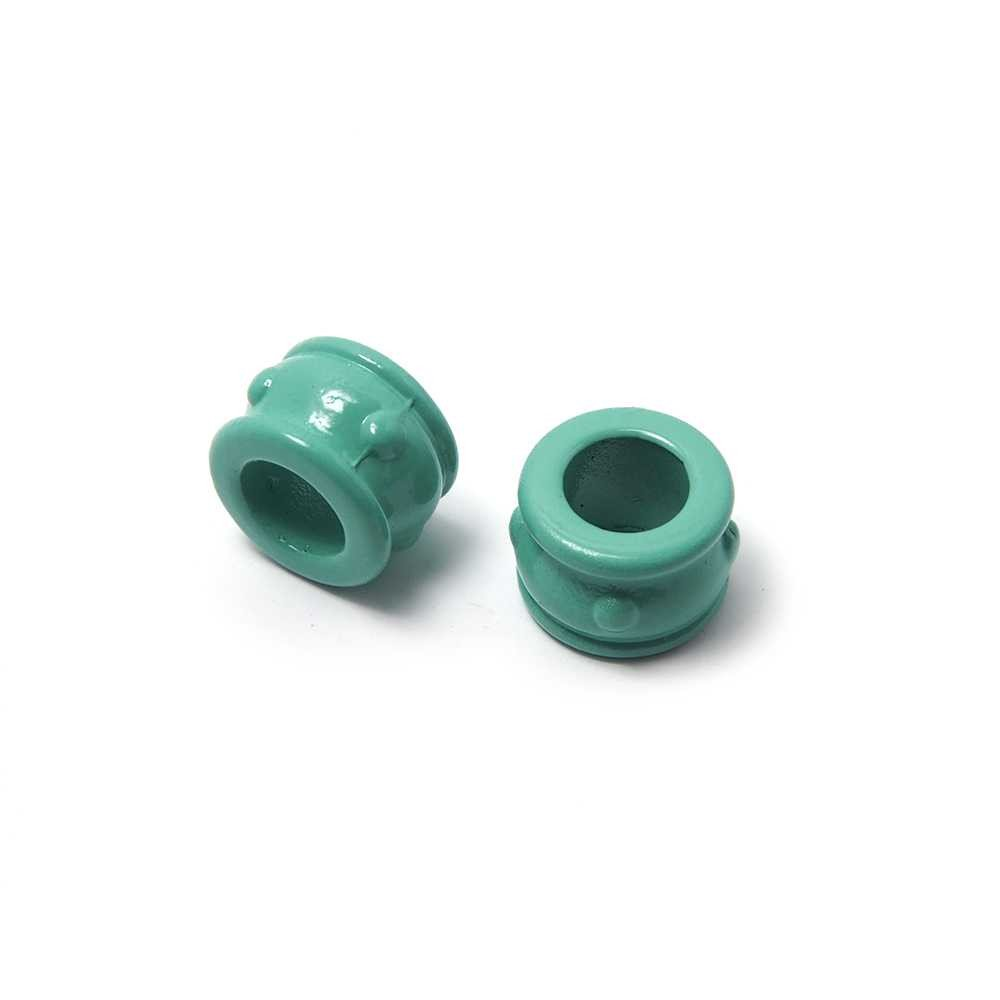 Entrepieza Cupa, para cuero de diámetro 5 mm. Pintada en color aguamarina.