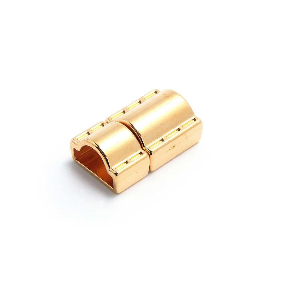 Cierre de presión Puntadas, para cuero de media caña con tubo. Bañado en oro brillante.