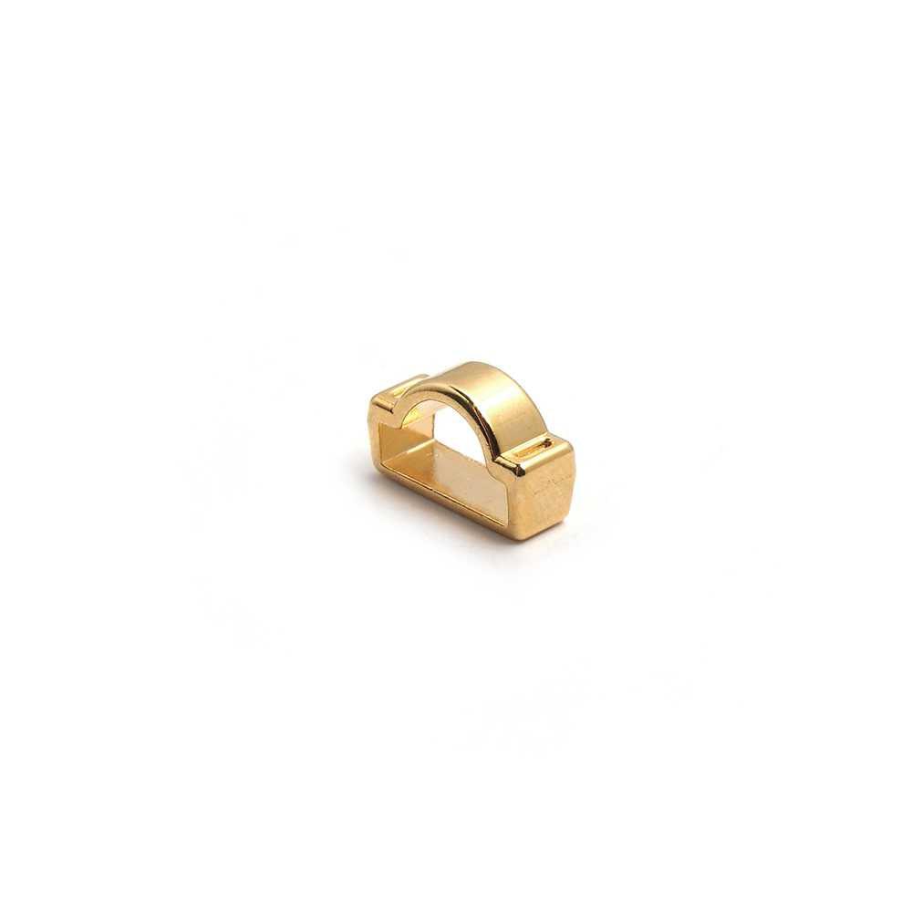 Entrepieza Puntadas para cuero de media caña con tubo. Bañada en oro de 24 quilates.