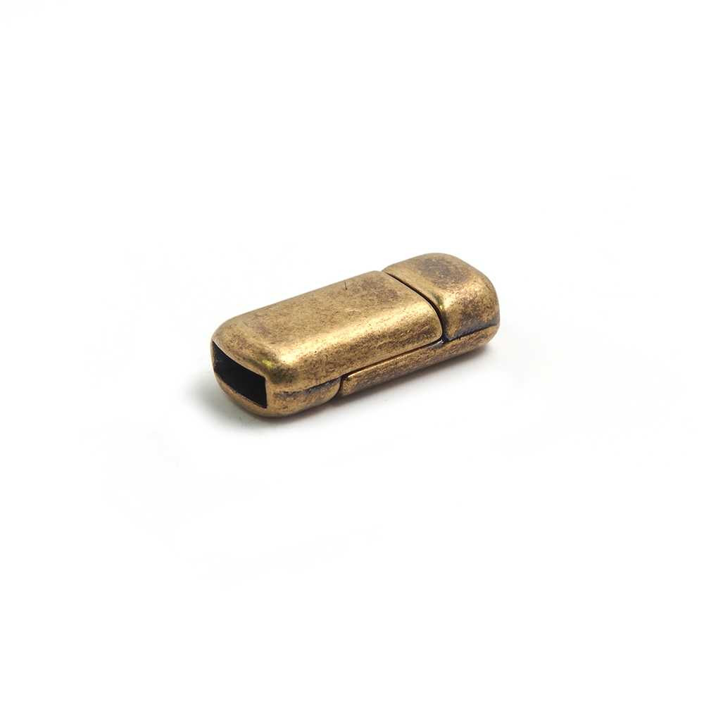 Cierre imán rectangular redondeado bañado en oro envejecido, 6.5mm x 2.5mm.
