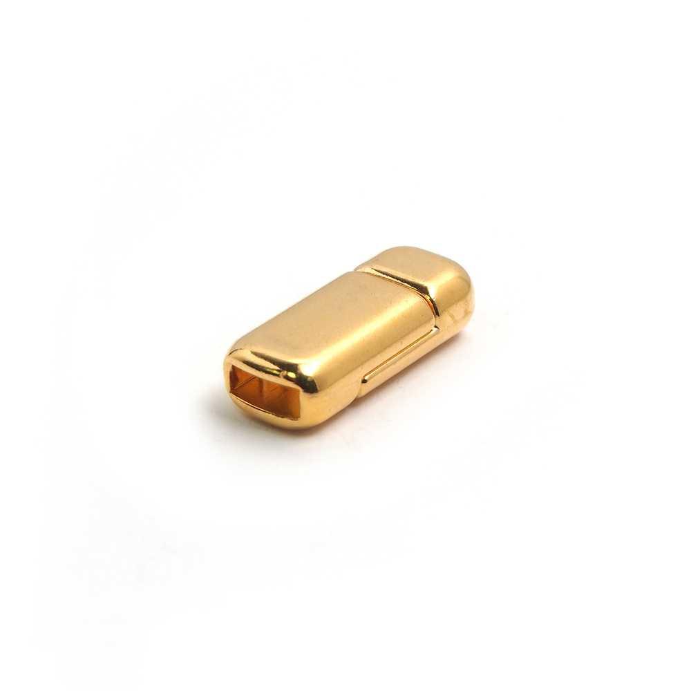 Cierre imán rectangular redondeado bañado en oro, 6.5mm x 2.5mm.