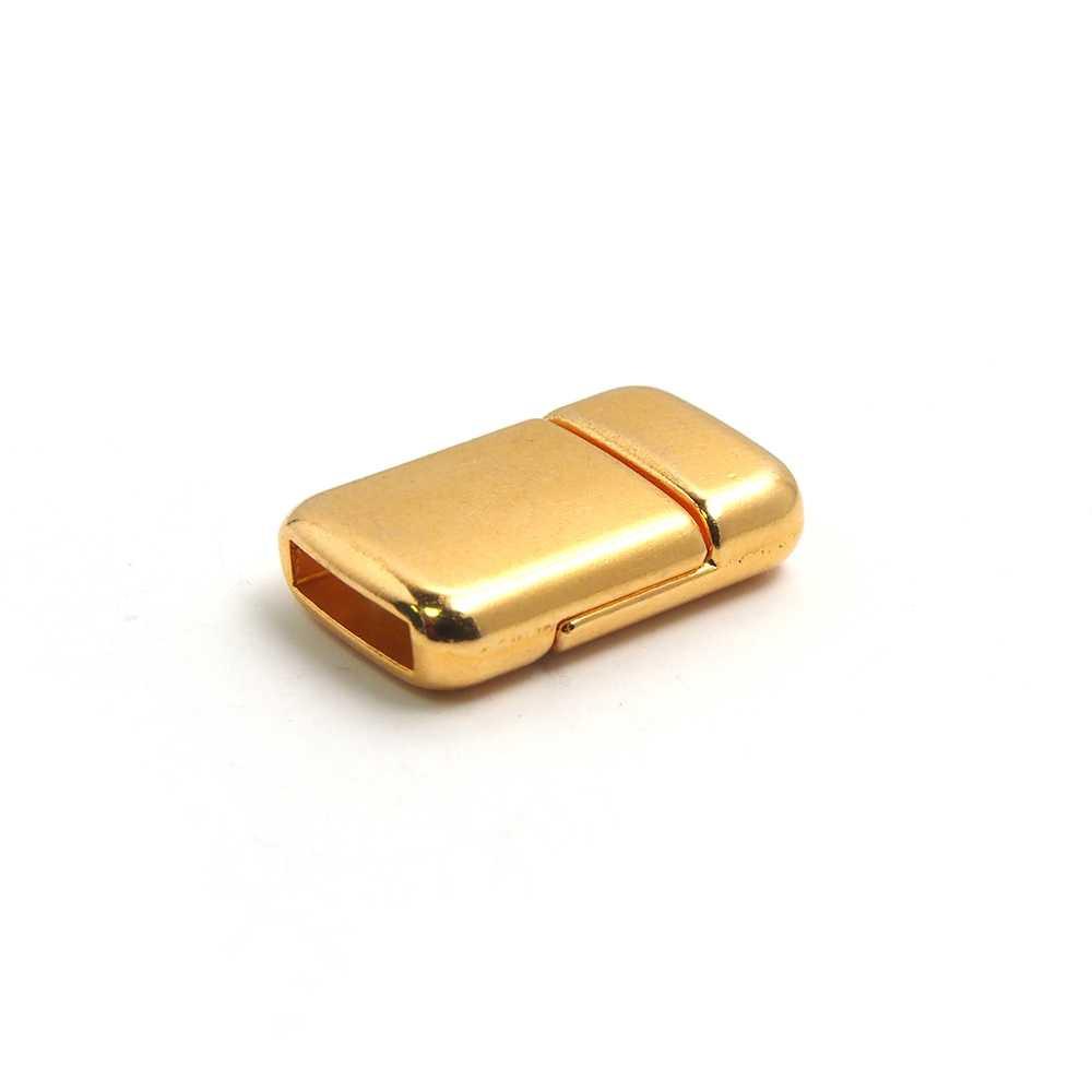 Cierre imán rectangular redondeado bañado en oro, 9.5mm x 2.5mm.