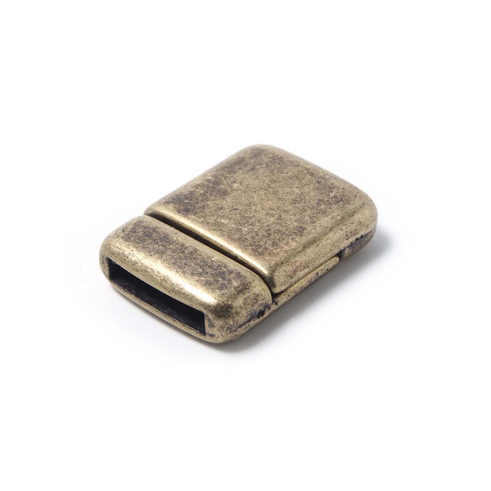 Cierre imán rectangular redondeado bañado en oro envejecido, 12.5mm x 2.5mm.