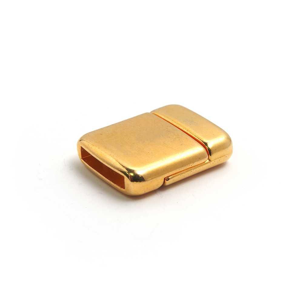Cierre imán rectangular redondeado bañado en oro, 12.5mm x 2.5mm.