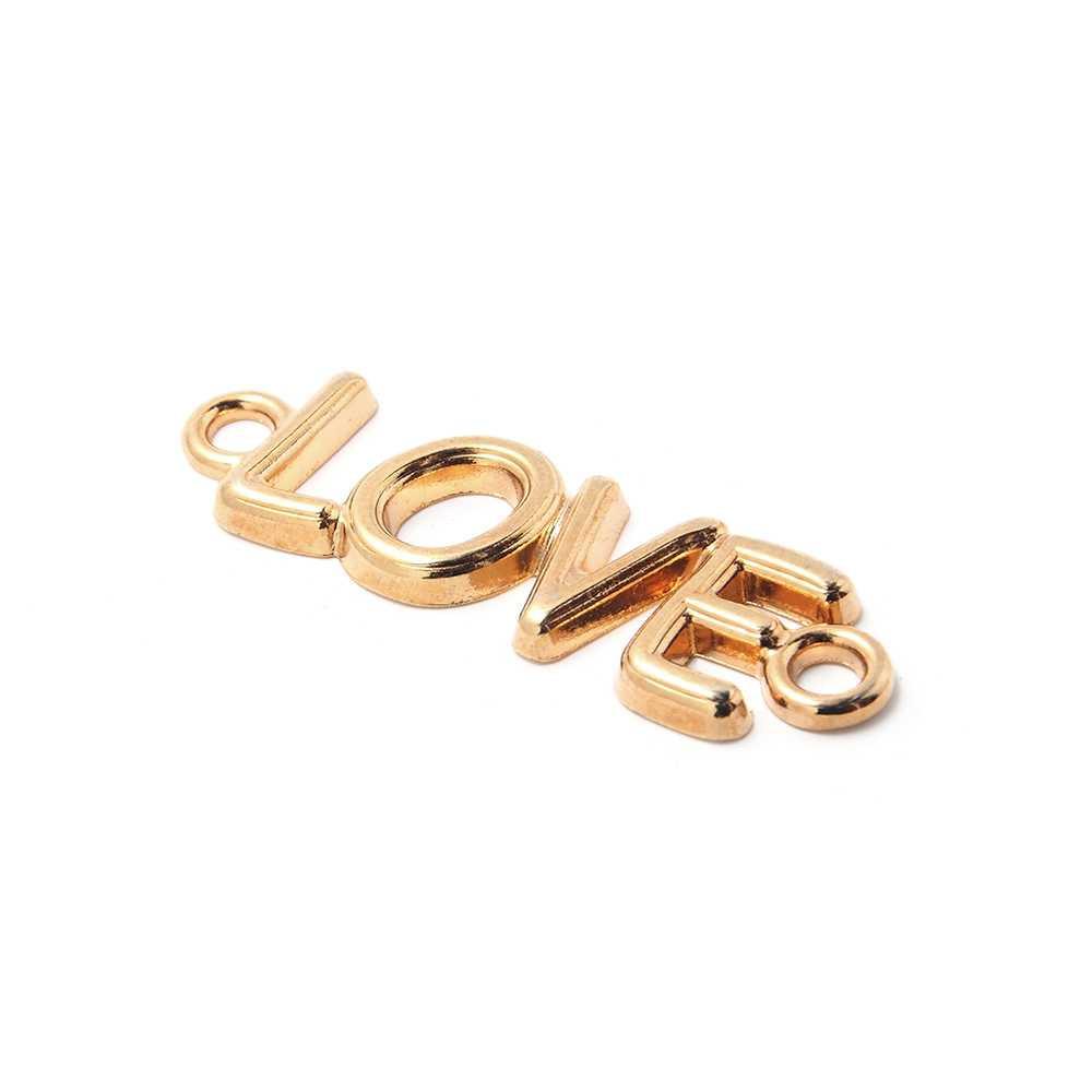 Pieza Love con anillas de 3mm. de diámetro interior. Bañada en oro de 24 quilates.