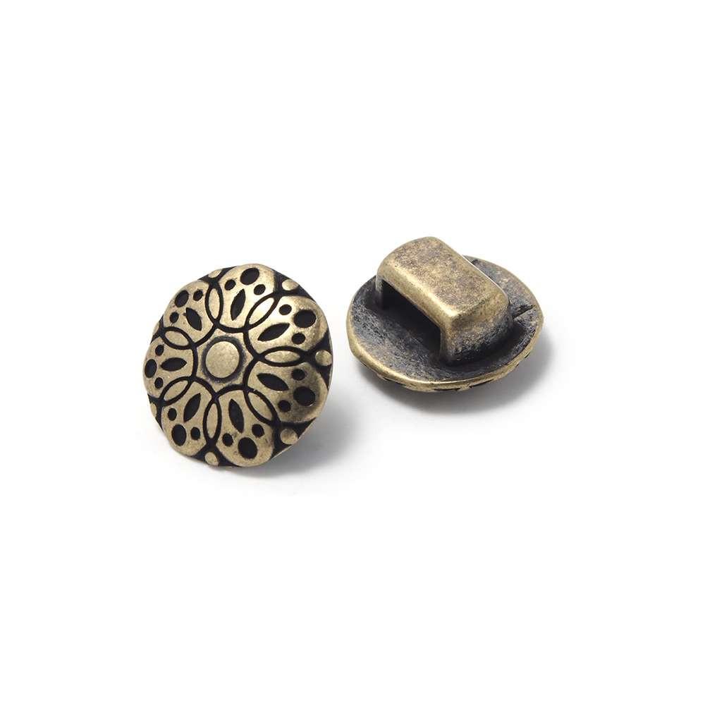 Entrepieza Mándala grande para cuero de 6,5mm x 2,5mm. Bañado en oro envejecido.