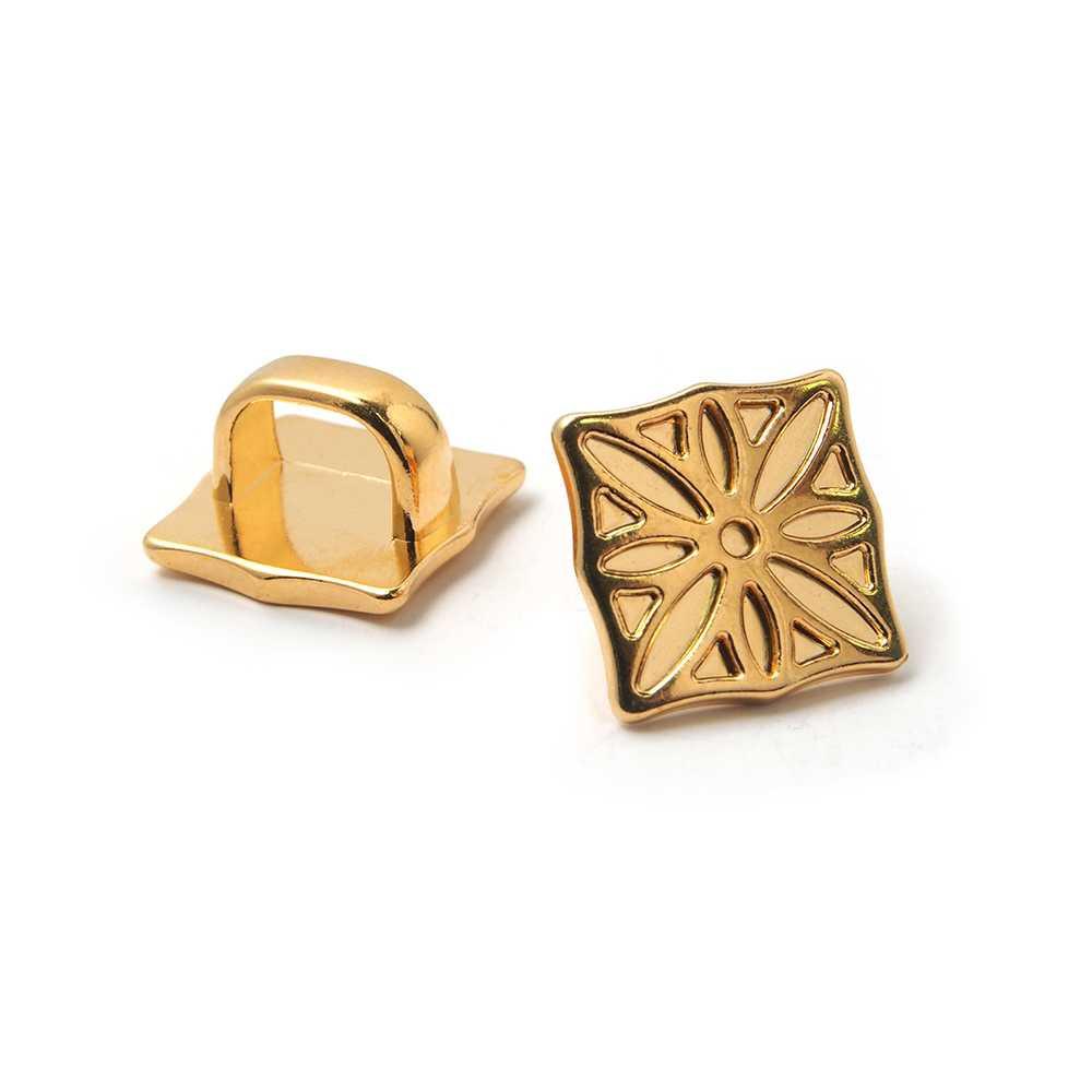 Entrepieza Cuadrado Gótico grande para cuero regaliz (10.5mm x 7mm). Bañado en oro de 24 quilates.