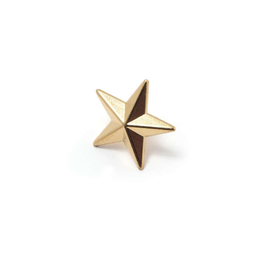 Tachuela Estrella con pivote, bañada en Oro de 24 quilates.