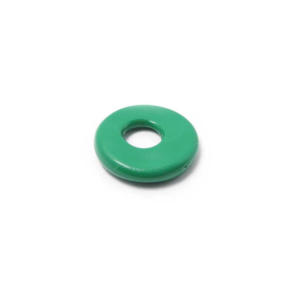 Disco Separador Golpeado 15mm con agujero redondo para cuero de 5mm de diámetro. Pintado en verde.