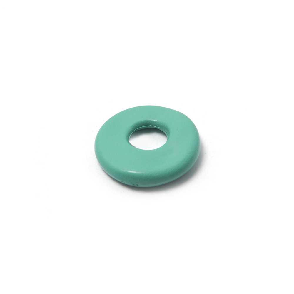 Disco Separador Golpeado 15mm con agujero redondo para cuero de 5mm de diámetro. Pintado en aguamarina.