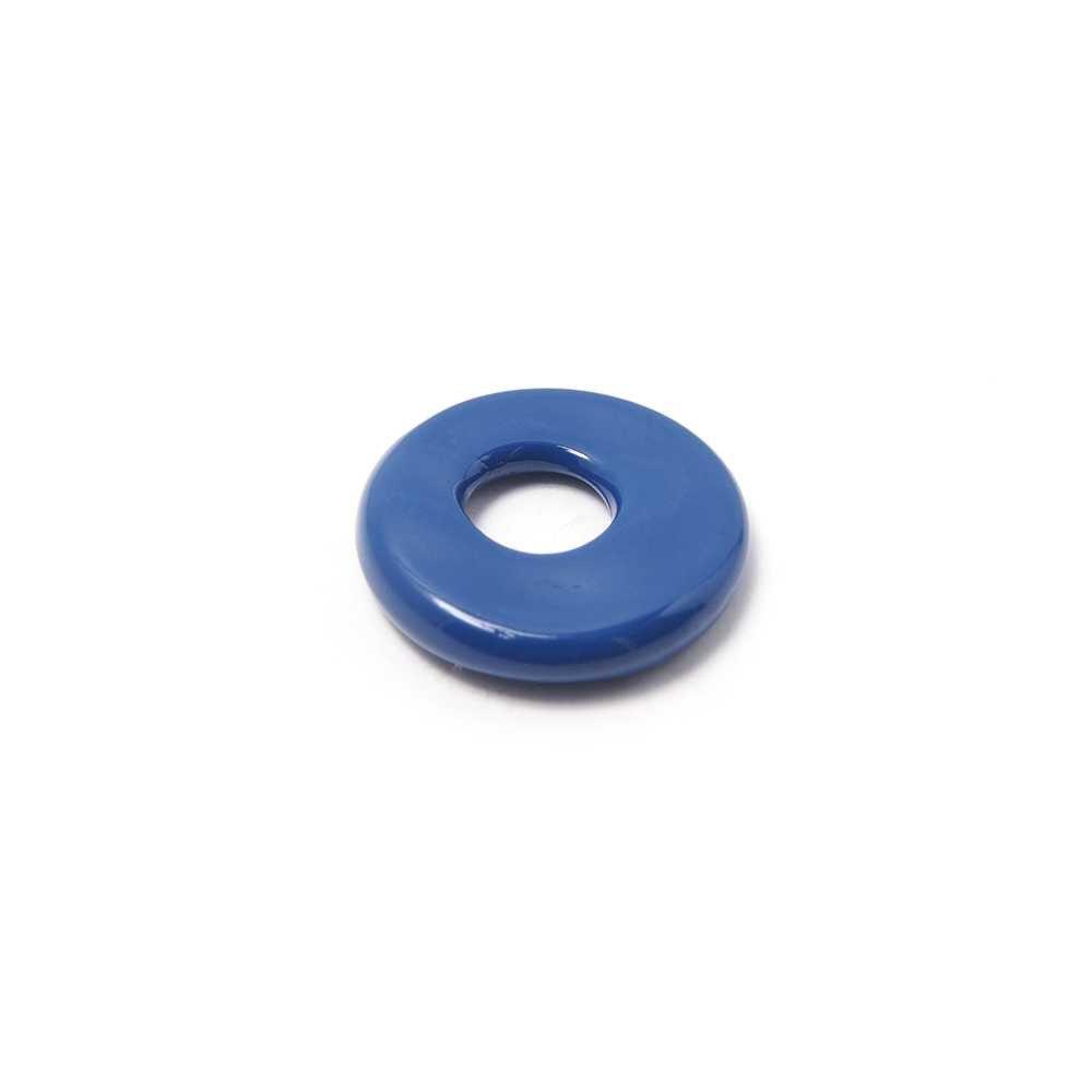 Disco Separador Golpeado 15mm con agujero redondo para cuero de 5mm de diámetro. Pintado en azul.