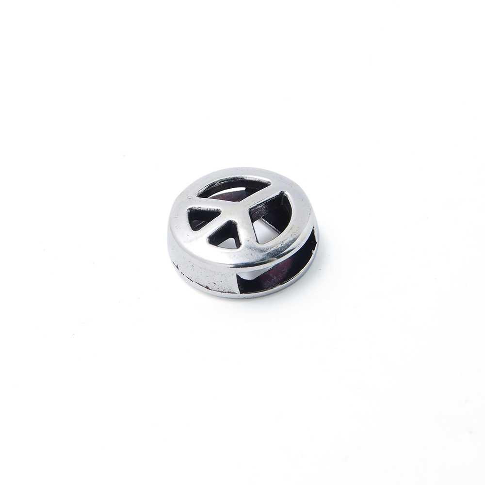 Entrepieza símbolo de la Paz calada, para cuero de 9.5mm x 2.5mm. Bañada en plata de ley oxidada.