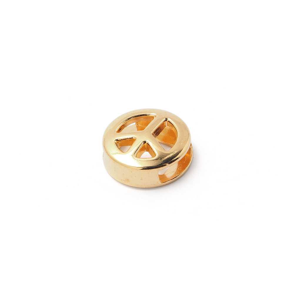 Entrepieza símbolo de la Paz calada, para cuero de 9.5mm x 2.5mm. Bañada en oro de 24 quilates.