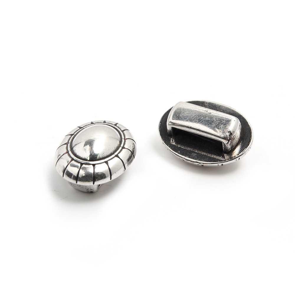 Entrepieza cordón bola, para cuero de 9.5mm x 2.5mm. Bañada en plata de ley oxidada.