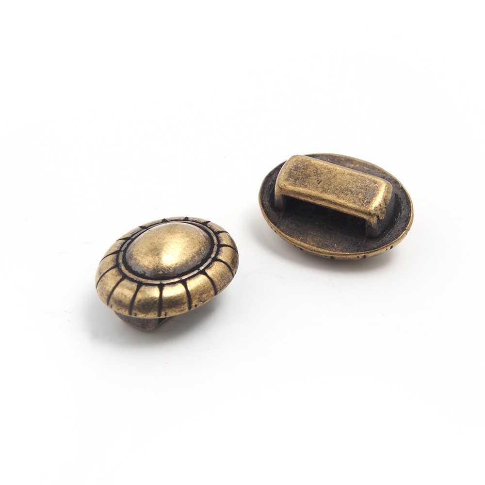 Entrepieza cordón bola, para cuero de 9.5mm x 2.5mm. Bañada en oro envejecido.