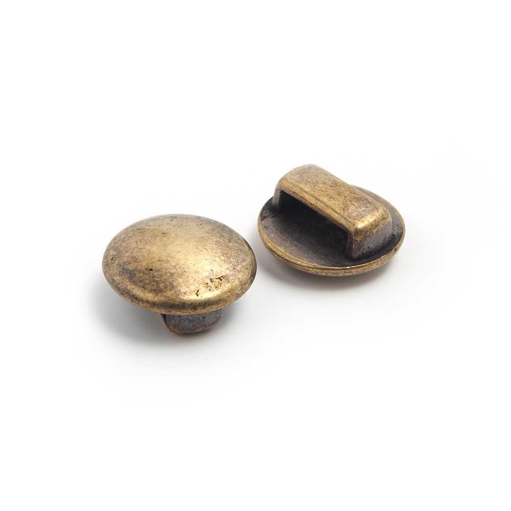 Entrepieza Media Bola, para cuero de 9.5mm x 2.5mm. Bañada en oro envejecido.