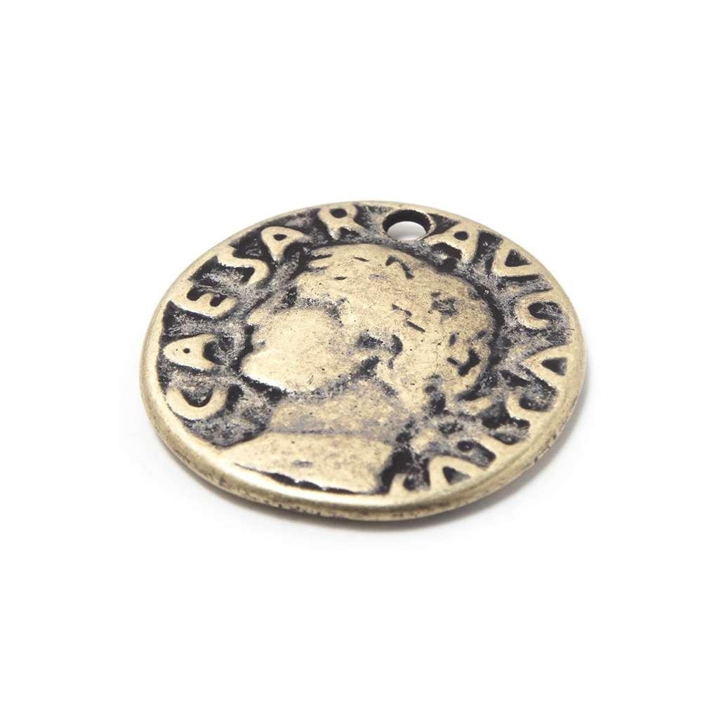 Medalla Moneda Romana, con agujero pasante para anilla de 1.5mm. de diámetro. Bañada en oro envejecido.