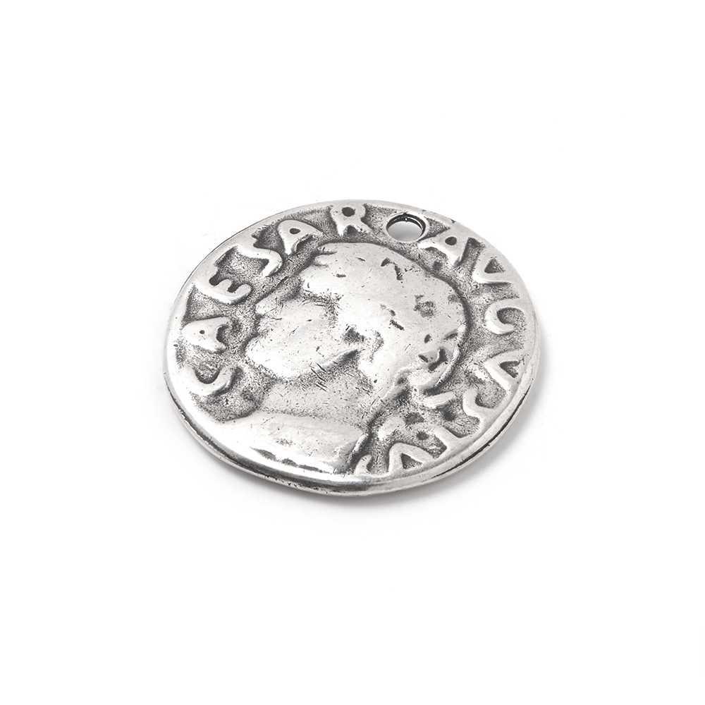Medalla Moneda Romana, con agujero pasante para anilla de 1.5mm. de diámetro. Bañada en plata de ley oxidada.