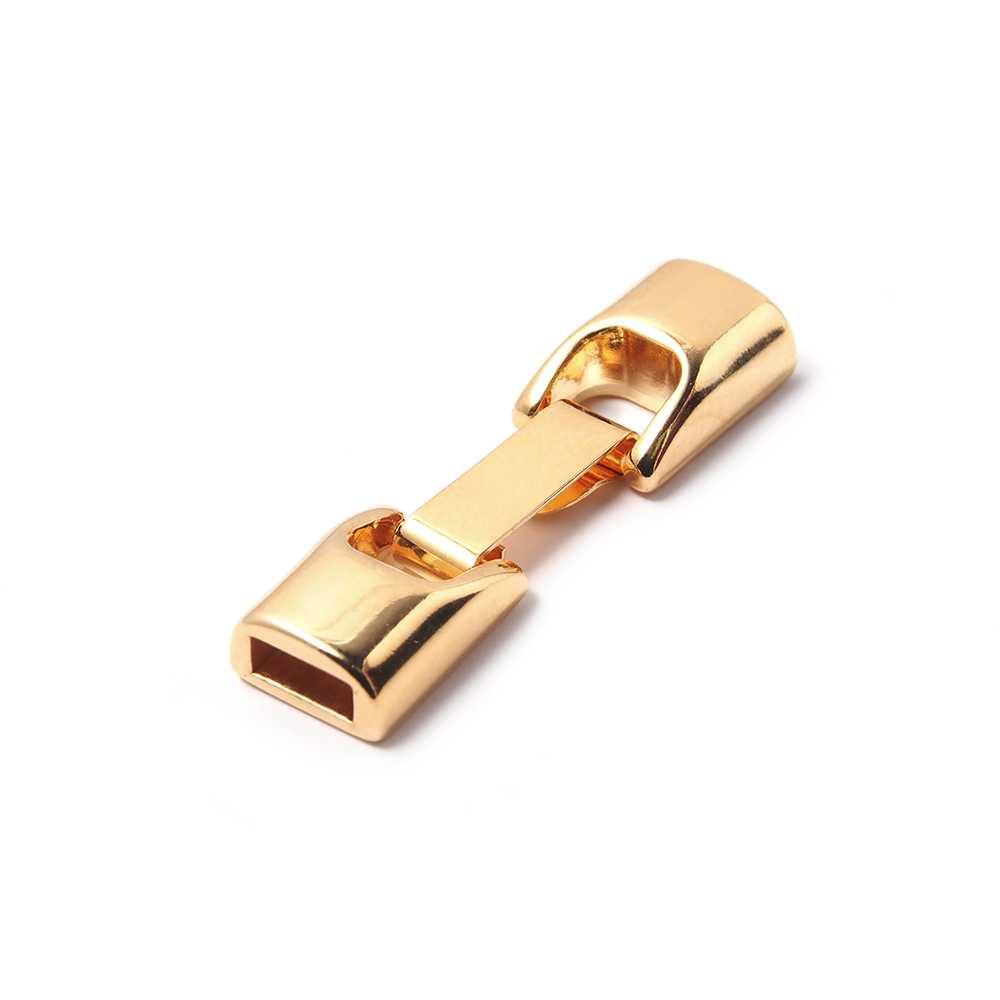 Cierre de fleje redondeado pequeño, bañado en oro de 24 quilates, con huecos para cuero de 6.5mm x 2.5mm.