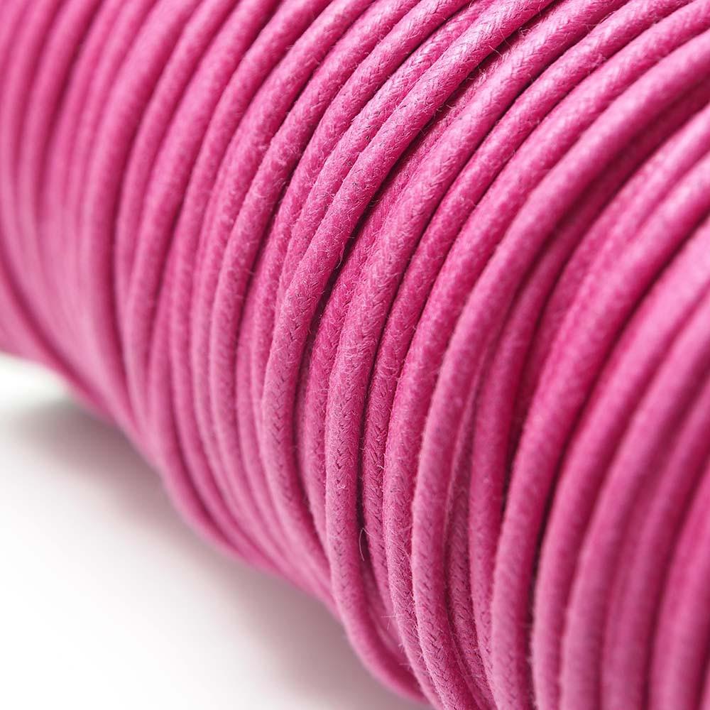 Cordón encerado redondo de 2mm de grosor. Color Fucsia.