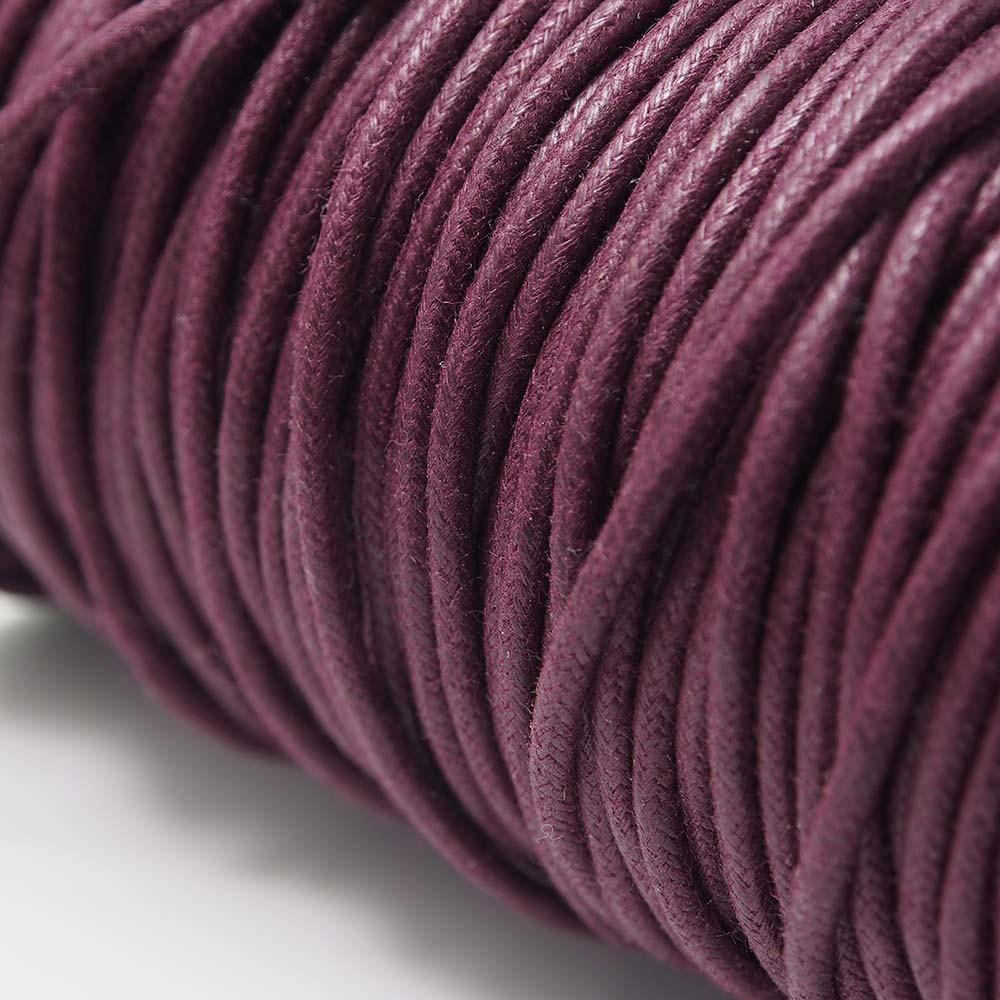 Cordón encerado redondo de 2mm de grosor. Color Granate.