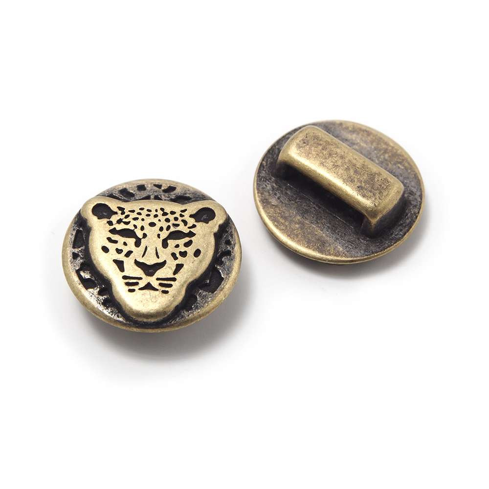 Entrepieza Leopardo, para cuero de 12.5mm x 2.5mm. Bañada en oro envejecido.
