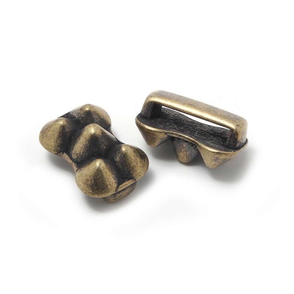 Entrepieza Conos, para cuero de 12.5mm x 2.5mm. Bañada en oro envejecido.