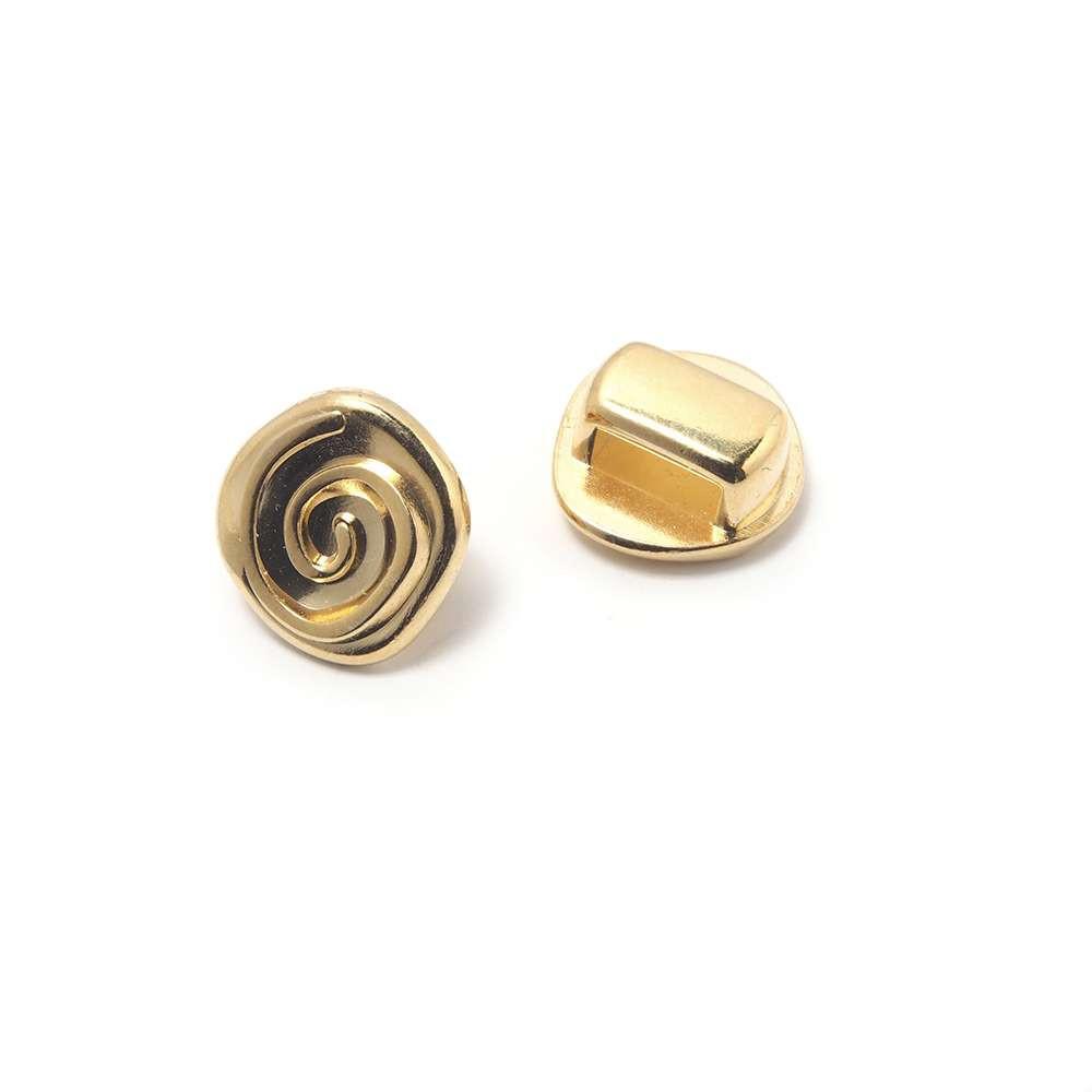 Entrepieza Flor, para cuero de 6,5mm x 2,5mm. Bañada en Oro de 24 quilates.