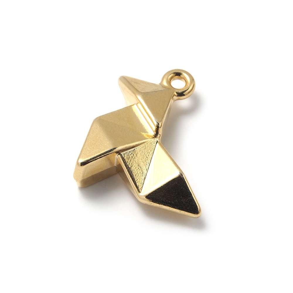 Abalorio Colgante Pajarita Origami, con agujero para anilla de 2 mm. Bañado en Oro de 24 quilates.
