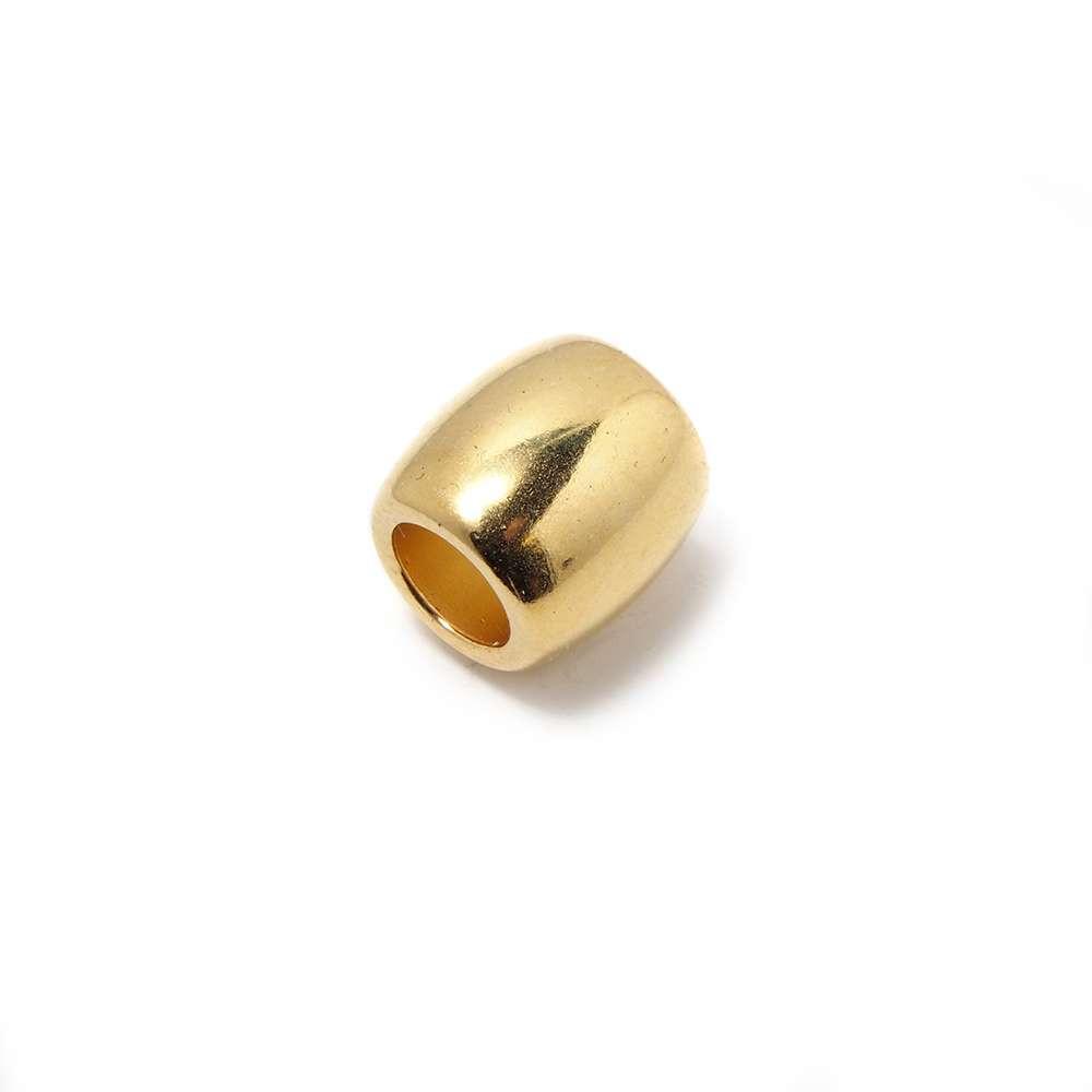 Entrepieza Bola Barril, para cuero de diámetro 5 mm. Bañada en Oro de 24 quilates.