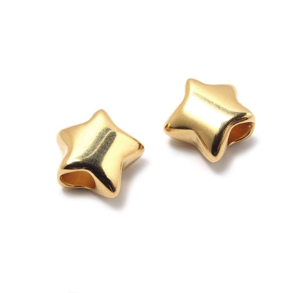 Entrepieza Bola Estrella, para cuero de diámetro 5 mm. Bañada en Oro de 24 quilates.