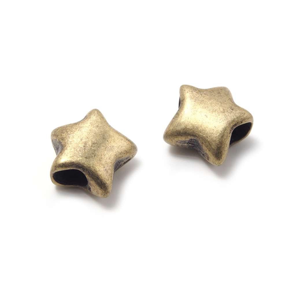 Entrepieza Bola Estrella, para cuero de diámetro 5 mm. Bañada en Oro envejecido.